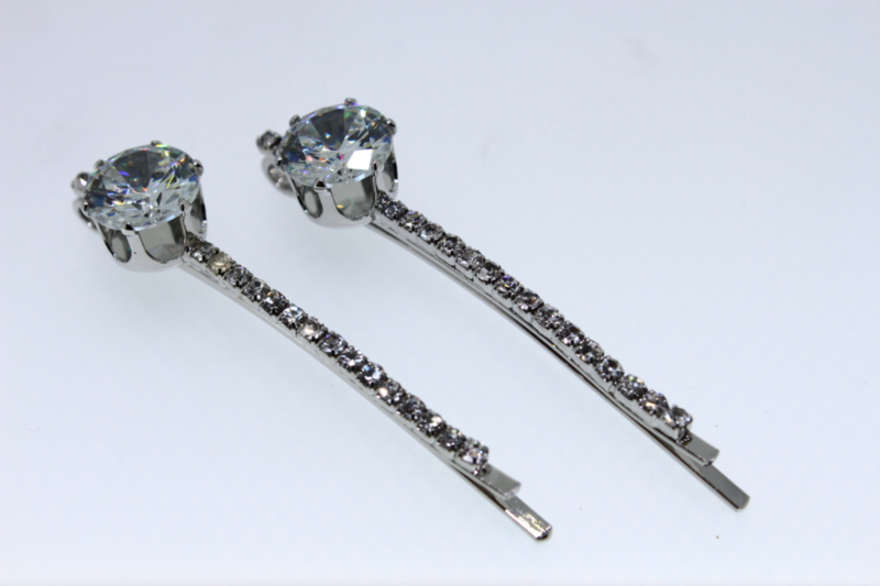 Vintage Crystal Hair Grip with Solitaire x2