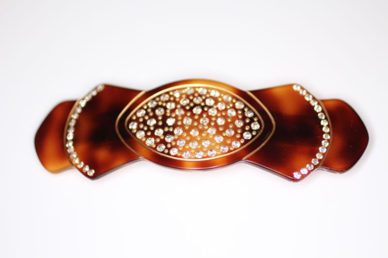 Handmade Barrette with Swarovski Crystals - Shell - 10cm