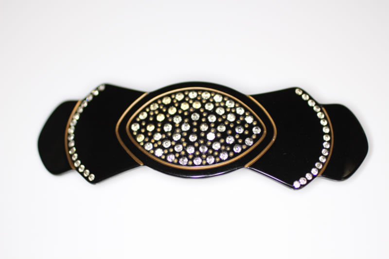 Handmade Barrette with Swarovski Crystals - Black - 10cm