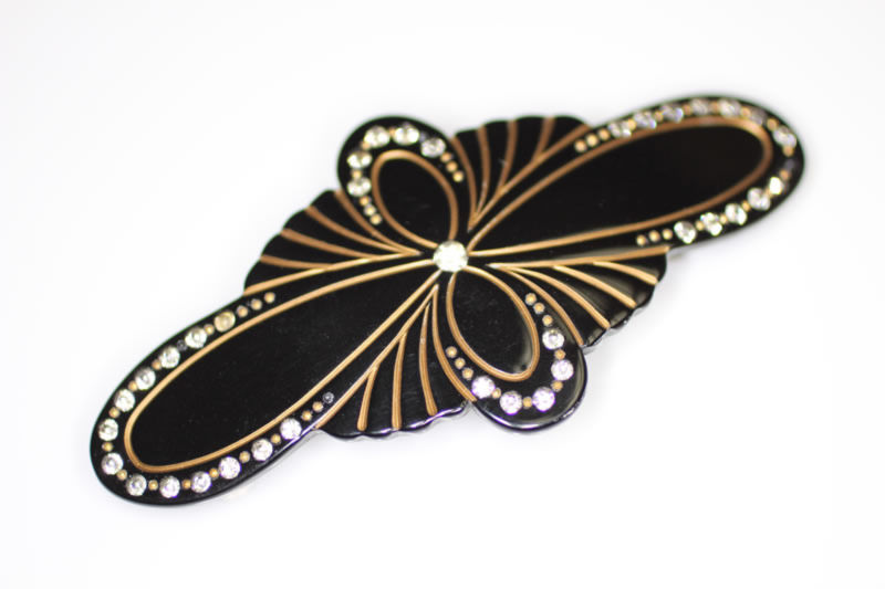 Handmade Barrette with Swarovski Crystals - Black - 9.5cm