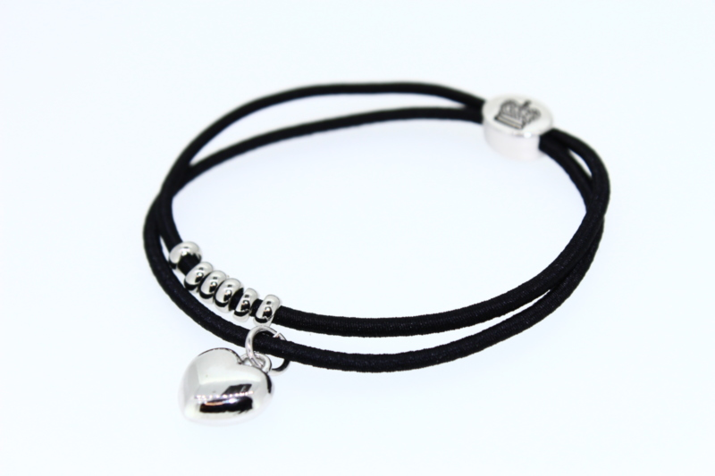 Luxury Double Elastic with Heart & Beads - Various Colours