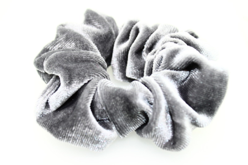 Large Velvet Scrunchie - Grey